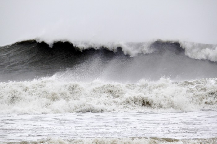 Massive waves from Hurricane Sandy, 29 October 2012 (photograph by Harrison Group via Flickr, CC BY-NC 2.0).