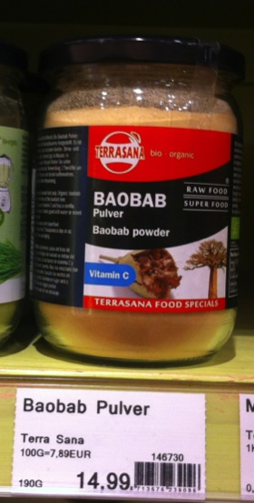 Baobab powder in a health food shop, Bremen, Germany (Photo credit: Amber Abrams)